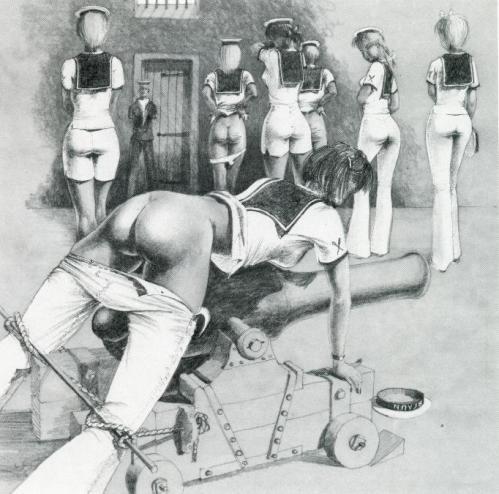 Some stylish navy girls kissing the gunners