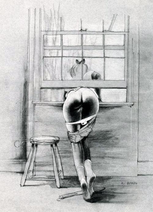 Brun drawing of bare bottom girl stuck in window