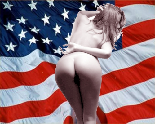 US flag with nude girl