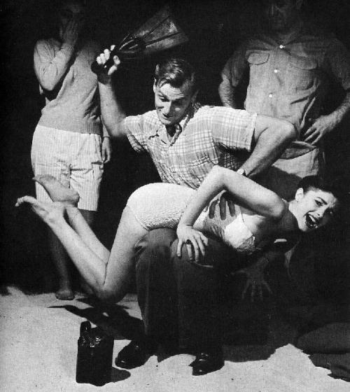 1940s beach spanking