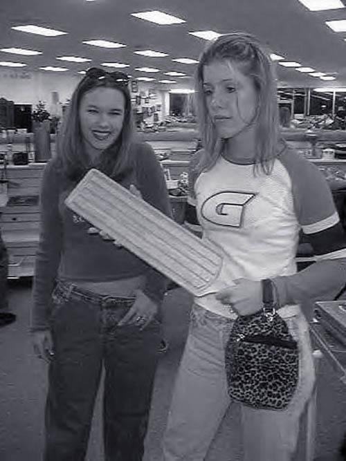 Nervous sorority girls paddle shopping