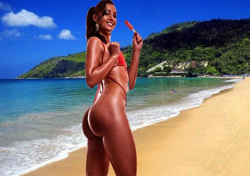 bottom on the beach