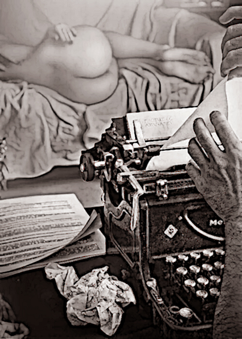 typewriter with nude