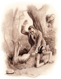 Illustration_of_a_Woman_Spying_on_a_Man_Spanking_Another_Woman